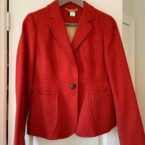 J. Crew Red Herringbone wool blazer